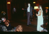Annabel and patron in skeleton mask