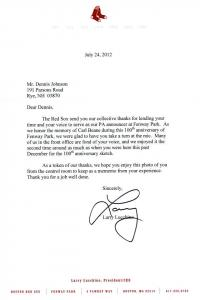 Lucchino Red Sox letter