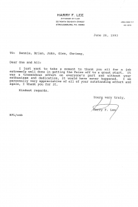 Harry Lee Letter