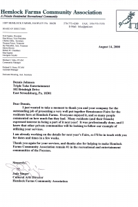 Hemlock Farms Letter of Rec